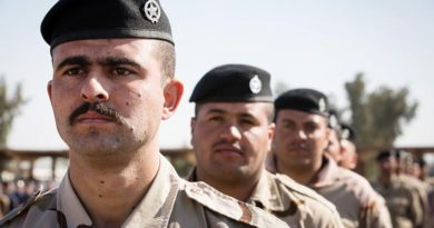 Iraqi Ninewah Police during their graduation ceremony after training with Task Group Taji 4 at the Taji Military Complex, Iraq. Photo by SPC Chris Brecht, US Army.