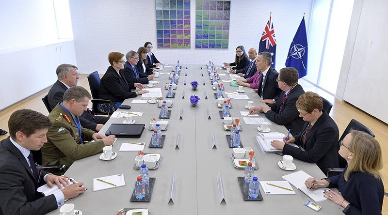 Bilateral meeting between Defence Minister Marise Payne and NATO Secretary General Jens Stoltenberg. NATO photo.