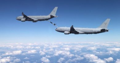 A KC-30A Multi Role Tanker Transport (MRTT) extends its boom to connect to another KC-30A MRTT. ADF file photo.
