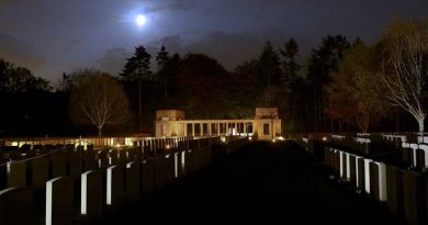 Moonlight shines over Polygon Wood and Buttes New British Cemetery before the ANZAC DAY dawn service 2016. Photo by Corporal Craig Barrett.