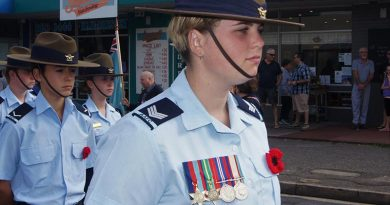 Cadet Sergeant Casey Dibben wears her great-grandfather's medals to honour the service of Private Geoffrey Whiteman, who served in New Guinea with the 6th Australian Division Workshops AIF. Photo by Pilot Officer (AAFC) Paul Rosenzweig
