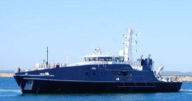 The first of two Cape Class Patrol Boats for the Royal Australian Navy, the Australian Defence Vessel (ADV) Cape Fourcroy. Austral photo.