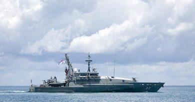 Armidale-class patrol boat HMAS Wollongong at sea. Photo by Able Seaman Kayla Hayes.
