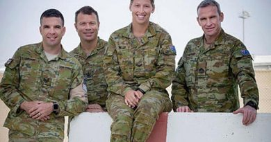 Sergeant Ben Stuart, Warrant Officer Class Two Clinton Doedee, Corporal Tayla Kelly and Warrant Officer Class One Jason Hartley in the Middle East.