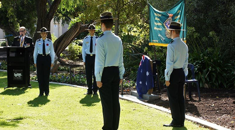 Air Force Cadets from No 604 Squadron provided an Honour Guard for the Malaya-Borneo Veterans Association plaque unveiling ceremony on 22 April (left to right): CSGT Britney Shorter (Guard Commander), LCDT Zain Carse, CSGT Blake Lawrence and LCDT Byron Barnes-Williams. CSGT Shorter and LCDT Barnes-Williams were members of the Association's 2016 Pilgrimage to Kuching. Photo by Pilot Officer (AAFC) Paul Rosenzweig.