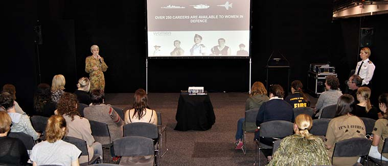 """Major Genevieve Rueger and Petty Officer Denise Whiting delivering a """"Women in the ADF"""" presentation. Photo by Pilot Officer (AAFC) Paul Rosenzweig."""
