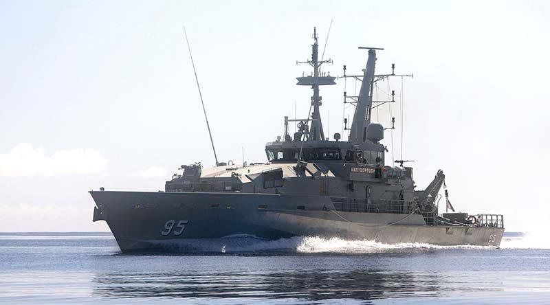 Armidale-class patrol boat HMAS Maryborough at sea. Photo by Leading Seaman James Whittle.