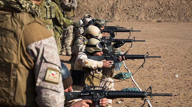 Australian and New Zealand Army trainers from Task Group Taji 4 conduct marksmanship training with an Iraqi Army training audience at Al Taqqadum, Iraq. ADF photo.