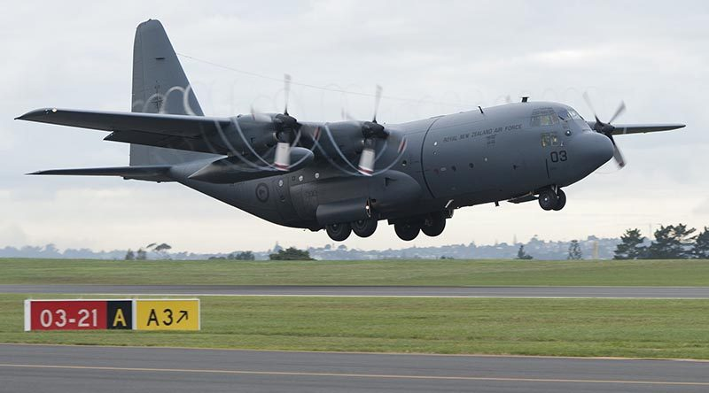 A Royal New Zealand Air Force C-130 Hercules takes off for a new mission in the Middle East. NZDF photo.
