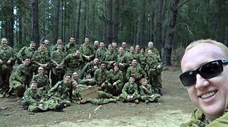 Commanding Officer 617 Squadron (Unley) Flying Officer (AAFC) Chris Trewin with the combined participants of Exercise 'Pathfinder'.