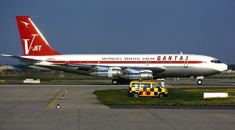 John Travolta's Boeing 707, photographed in Frankfurt, Germany –has been donated to the Historical Aircraft Restoration Society at Albion Park, NSW, Australia. Photo by Konstantin von Wedelstaedt.