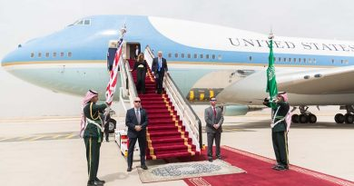 President Donald Trump and First Lady Melania Trump arrive in Rihad, Saudi Arabia, Saturday, May 20, 2017, for the start of their overseas visit to Saudi Arabia, Israel, Rome, Brussels and Taormina, Italy. Official White House Photo by Shealah Craighead.