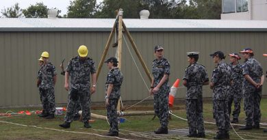 TS Koopa cadets hone their seamanship skills by a conducting light jackstay exercise.