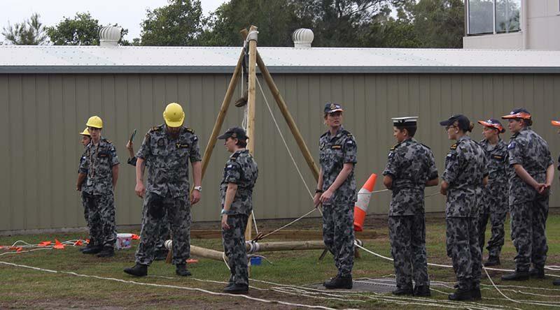 TS Koopa cadets hone their seamanship skills by a conducting light jackstay exercise.