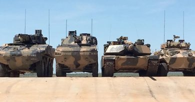 Left to right – Rheinmetall Boxer CRV, BAE Systems Australia/Patria AMV-35, an Australian Army Abrams main battle tank and an ASLAV at Mount Bundey, Northern Territory. Photographer unknown.