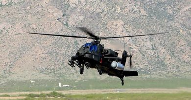 US Army AH-64 Apache fitted with Raytheon high-energy laser test capsule. US Army photo.