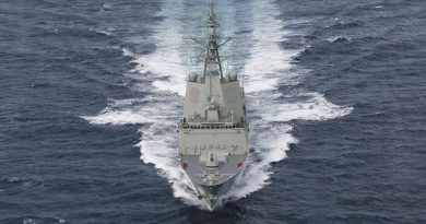 NUSHIP Hobart conducts sea trials in the Gulf St Vincent off the South Australian coast. Photo by Corporal Craig Barrett.