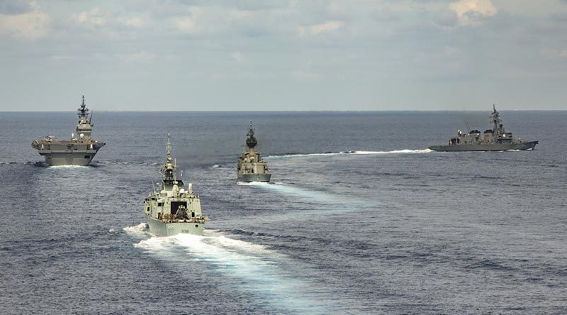HMAS Ballarat (third from left) conducts a Passage Exercise in the South China Sea with Japanese Maritime Self Defense Force ships Izumo and Sazanami and the Royal Canadian ship HMCS Winnipeg during her South East Asia Deployment. Photo by Leading Seaman Bradley Darrell.