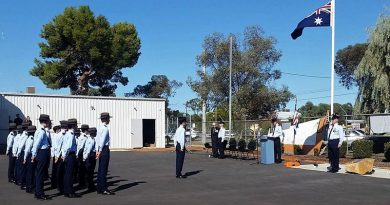 Air Force Cadets of No 623 Squadron AAFC in Mildura receive their Host Officer, Wing Commander (AAFC) Peter Gill, Officer Commanding No. 6 Wing: CUO Jacob Adolph is Parade Commander.