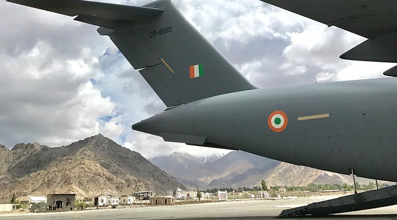 An Indian Air Force C-17A Globemaster on the tarmac at Leh Airport, India, during a mission with Royal Australian Air Force C-17A aircrew observing high-altitude airport operations. Photo by Group Captain Adam Williams.