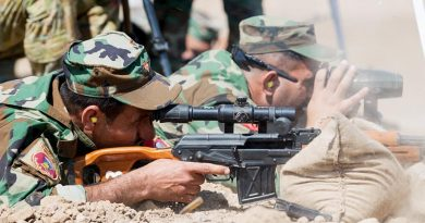 Iraqi Army Rangers practice firing at extended ranges with a Dragunov sniper rifle under the guidance of Australian and New Zealand Defence Force trainers from Task Group Taji 4 at Taji Military Complex, Iraq. Photo by Corporal Kyle Genner.