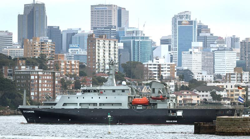 MV Sycamore multi-role aviation training vessel (MATV) entering Sydney Harbour. Photo by Able Seaman Craig Walton.