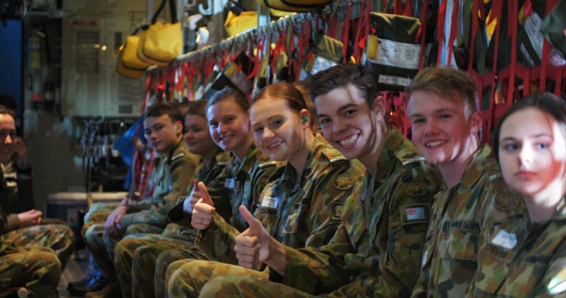 6 Wing cadets enjoy their C-130J air-experience flight.