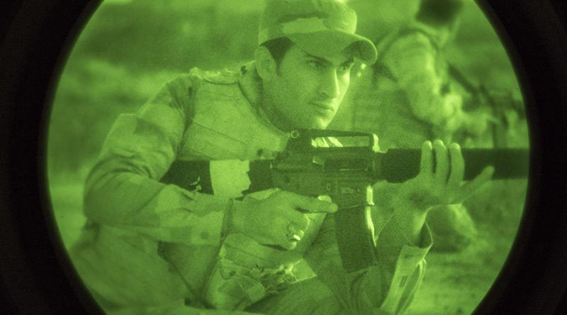 An Iraqi soldier undergoing night-fighting training with Australian and NewZealand training team at Camp Taji. ADF photo.