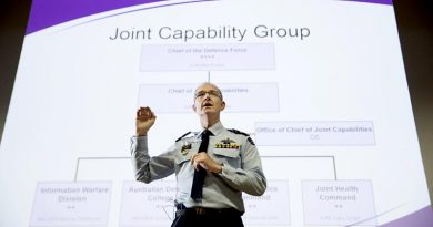 Air Vice Marshal Warren McDonald gives an implementation update on the newly formed Joint Capabilities Group. Photo by Jay Cronan.