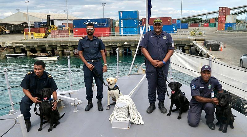 Sniffer dogs working with Fiji's Police and Customs staff trained on the Royal New Zealand Navy Inshore Patrol Vessel HMNZS Hawea, which has been deployed to Fiji for six months to help with maritime surveillance.