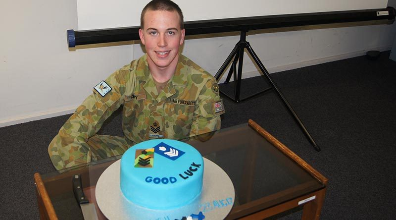 CFSGT Jake Dippy at Hampstead Barracks with his farewell cake. Image by Pilot Officer (AAFC) Paul Rosenzweig