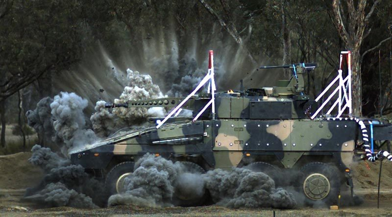 The Rheinmetall Boxer undergoes blast testing at Proof and Experimental Establishment - Graytown Victoria. ADF photo.