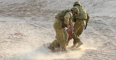 Soldiers rehearse a battlefield casualty evacuation in the Middle East. Photo by Brian Hartigan.