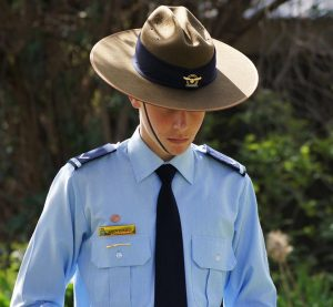 Leading Cadet Simon Russell, a member of the Catafalque Party provided by 604 Squadron, AAFC from Hampstead Barracks in Adelaide, SA.