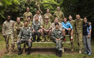 The Bush Tucker Man retired Major Les Hiddins with Australian, US and Chinese soldiers and Marines. Photo by Leading Seaman Jake Baidor.