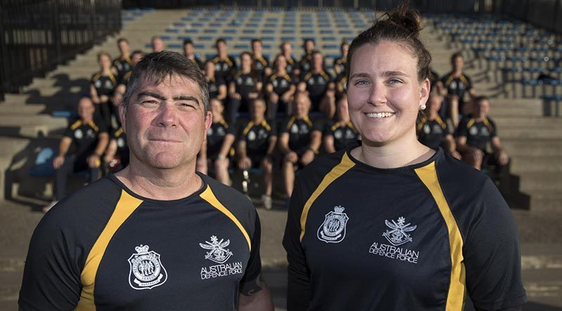 Australian Invictus Games team captains Sergeant Peter Rudland and Captain Emma Kadziolka, with the Aussie Team, at the Sydney Academy of Sport and Recreation, NSW. Photo by Corporal Jayson Tufrey.