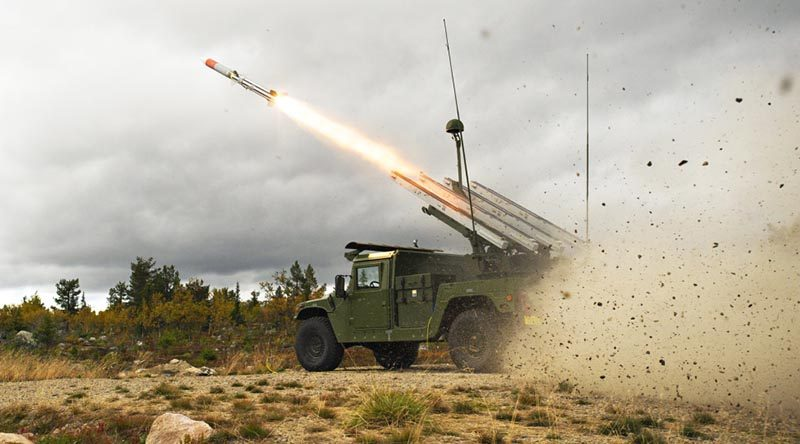 A NASAMS high-mobility launcher on a HMMWV, firing an AMRAAM missile. An Australian NASAMS is likely to be carried by Hawkei. Raytheon photo.