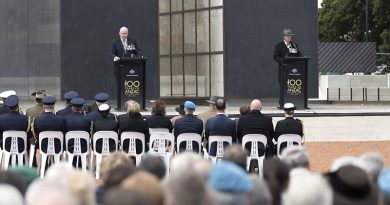 Governor-General Sir Peter Cosgrove speaks to attendees during the Dedication of the Australian National Peacekeeping Memorial on Anzac Parade, Canberra. Photo by Jay Cronan.