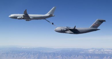 An RAAF A330-based KC-30A Multi-Role Tanker Transport (MRTT) refuels a United States Air Force C-17A Globemaster III. USAF photo.