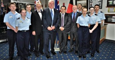 LCDT Jacob Lavery, CCPL Tegan Thomas, LCDT Robert Buscumb, Councillor Jerry Wilson, Adrian Pederick MP, Tony Pasin MP, Merv Schopp, RSL sub-branch President, Flying Officer (AAFC) Paul Lemar, LCDT Brooke Hopper (obscured), CDT Gretel Lees, LCDT Seana Penny and CUO Samuel Mach.