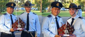 Kyle Roberts (Cadet Flight Sergeant at the time)(left) receives the trophy for Dux of the 2017 Cadet Under Officer Course – and, Alex Burrow (Cadet Corporal at the time) receives the trophy for Dux of the 2017 Cadet Senior Non-Commissioned Officer Course (Course A) –from GPCAPT (AAFC) Mark Dorward. Photos by FLGOFF (AAFC) Paul Rosenzweig.
