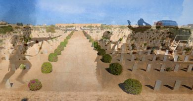 The Commonwealth War Graves Commission Cemetery in El Alamein, Egypt, overlaid with battle scene. Wargraves photo by Corporal Christopher Dickson – digital overlay by CONTACT.