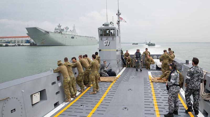 Landing craft from HMAS Adelaide sail through Port Klang to conduct training with Malaysian Armed Forces during a visit to Malaysia for Indo Pacific Endeavour 2017. Photo by Leading Seaman Peter Thompson.
