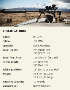 M107A1 specifications