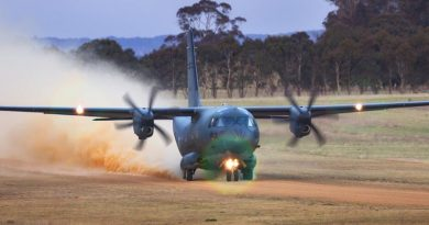 A Royal Australian Air Force C-27J Spartan transport aircraft from No 35 Squadron takes off from Walcha Airport during a training mission. Photo by Corporal Oliver Carter.