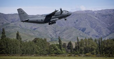 A RAAF C-27J Spartan takes off from Royal New Zealand Air Force Base Woodbourne during Exercise Southern Katipo 2017.