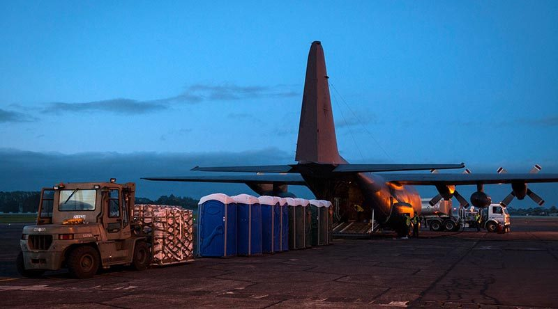 Preparations of the C-130 Hercules heading to Vanuatu to deliever aid supplies. NZDF photo.