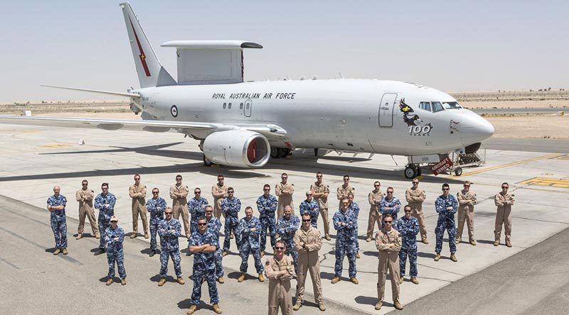 RAAF personnel from the Air Task Group Task Element 630.1.2, Rotation 11, stand before an E-7A Wedgetail – the aircraft most heavily responsible for delivering Australia's contribution to the fight against ISIS in Syria. Photo by Corporal David Cotton.