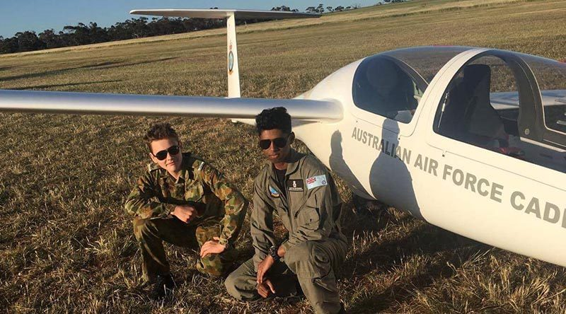 LCDT Oakly Andary and LCDT Aditya Suvarna of 609 Squadron with a DG-1000S glider during a gliding camp at Balaklava, SA run by No 600 Aviation Training Squadron. Photo supplied by No 609 Squadron AAFC.