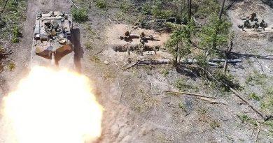 An M1A1 Abrams Main Battle Tank fires on Exercise Diamond Run 2017. Photo by Captain Anna-Lise Brink.